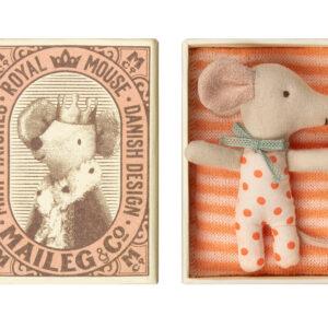 Maileg Baby Mouse Sleepy Wakey in Box – Girl: 16-9710-01