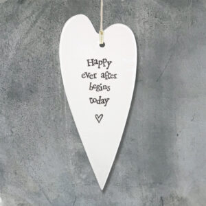 East of India Happy ever after 5039041048639 Porcelain long heart- 2040