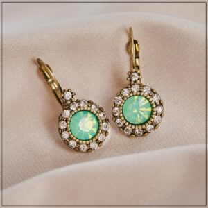 Lovett and Co. Vintage Stone French Clip Earring Green - 11230