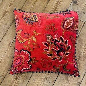 Feather Filled Red Velvet Cushion - 50cm x 50cm