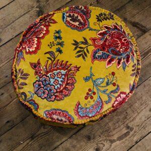 Soft Mustard Round Velvet Cushion - 50cm x 50cm x 12cm Deep