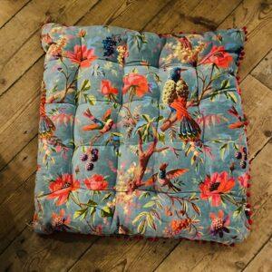 Velvet Birds of Paradise Floor Cushion - 70cm x 70cm