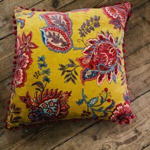 Feather Filled Mustard Velvet Cushion - 50cm x 50cm