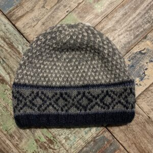Blue Grey White Patterned Hat Hand Knitted - Fair Trade