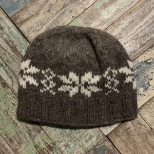 Brown Snowflake Hat Hand Knitted - Fair Trade