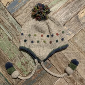 Grey and Multi-Colour Pom Pom Hat Hand Knitted - Fair Trade