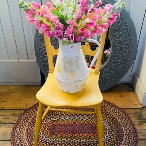 Country Rustic Tin Jug with Foxgloves