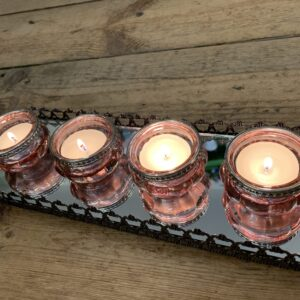 Pink tea light holders with mirrored tray - set of 4